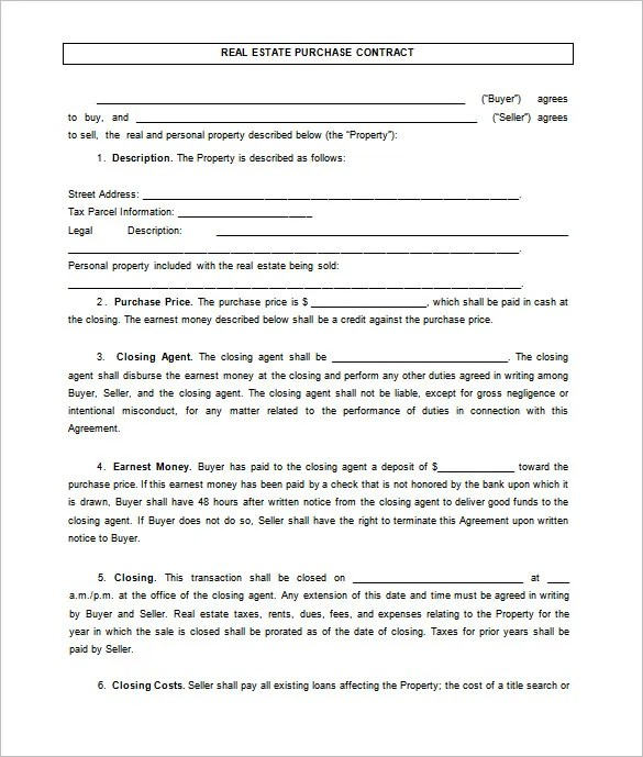 Sales Contract Template Word. 7 real estate contract templates ...