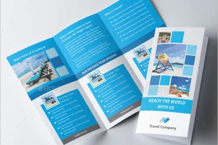 45  Travel Brochure Templates   PSD  AI   Free   Premium Templates Blue Coloured Travel Trifold Brochure