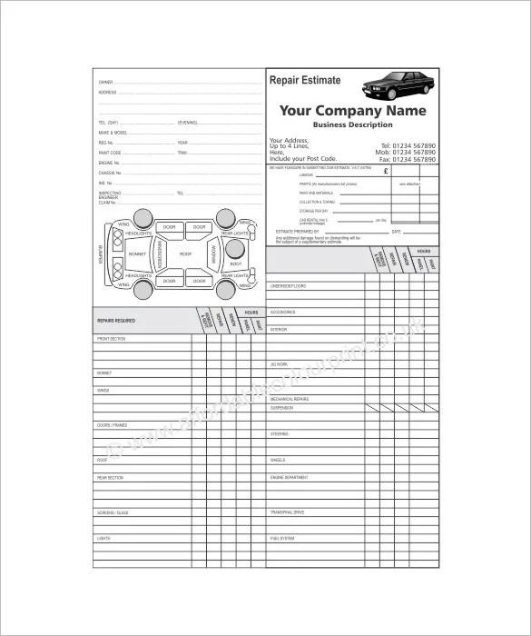repair estimate template 18 free word excel pdf documents – Job Estimate Sheet
