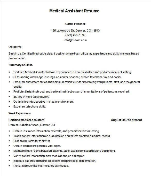 medical assistant resume template 8 free samples examples