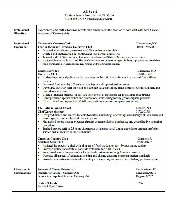 Culinary Resume Template. Chef Resume Sample Examples Sous Chef