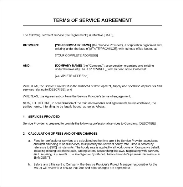 Service Agreements Templates. service contract template 10 free ...