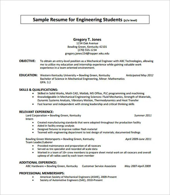 Internship Resume Objective Examples College Intern