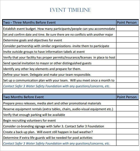 Day Of Event Timeline Template Free Word Templates