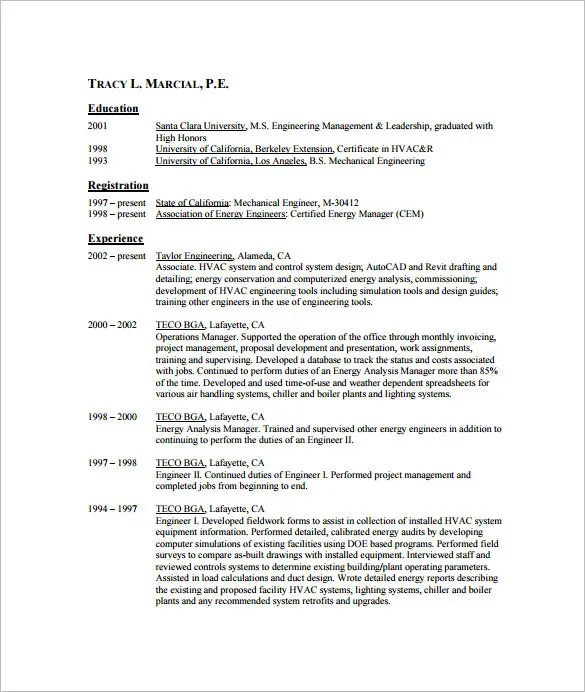 resume format for hvac engineer sample resume for hvac mechanical