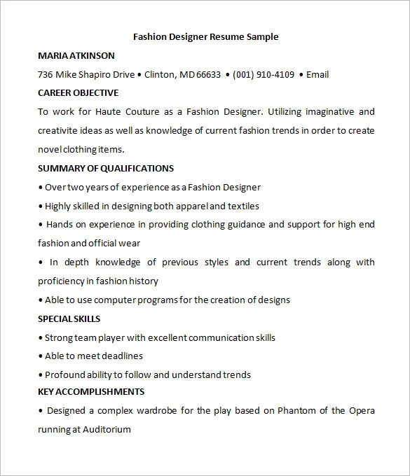 Fashion Designer Resume Samples For Freshers Resume Outline Examples Quad Ocean Group Assistant Fashion Designer Resume Sample Letter For Resume Fashion Designer Resume Best Resume Collection Freelance Fashion Designer Resume Sample Marketing