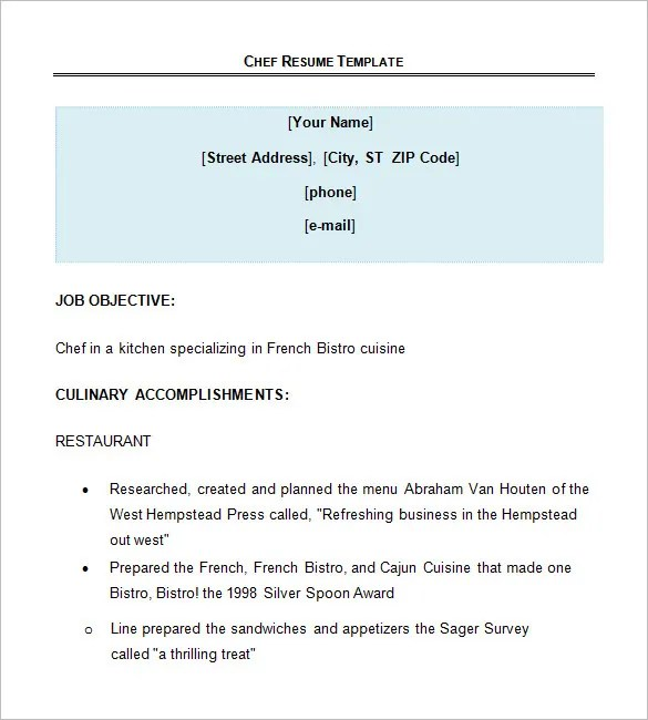 personal chef resume chef resume template free objective resume chef resume objective