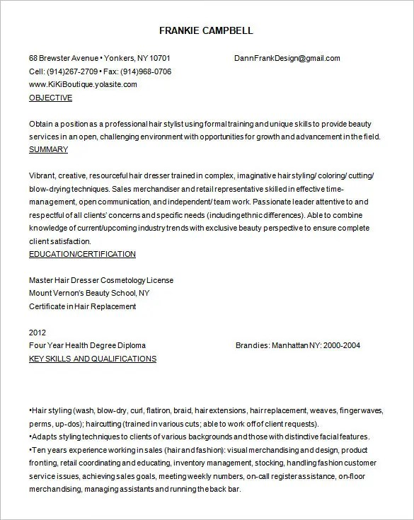 resumes for hairstylists resume sample