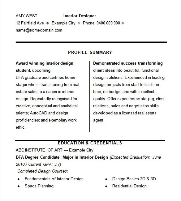 interior design client profile sample