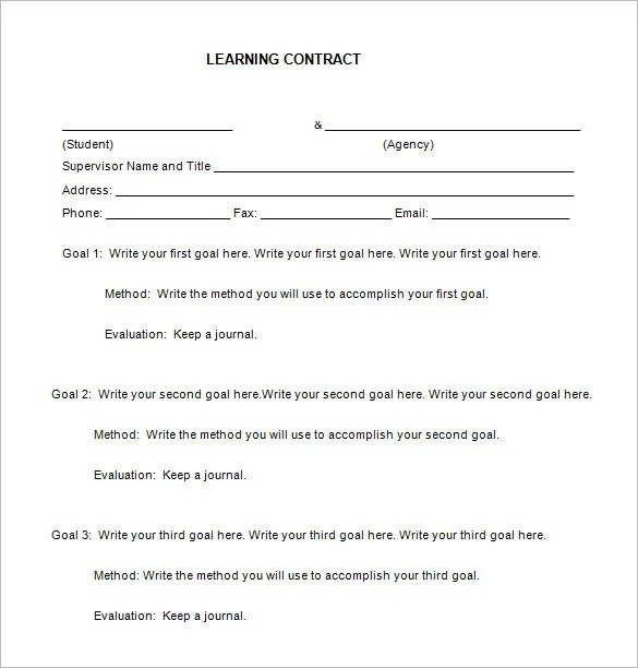 Student learning contract form pictures to pin on for Student contracts templates