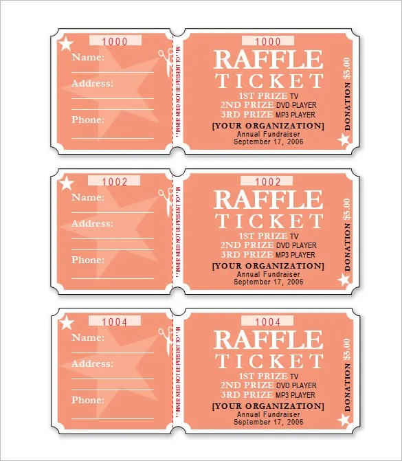 Word Template Tickets. 400 Numbered White Laser Or Inkjet Raffle