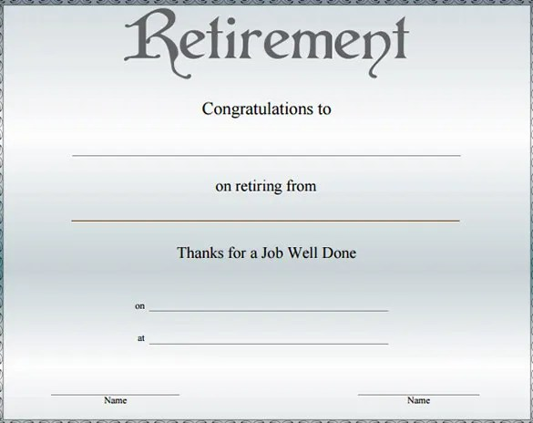 Retirement certificate template free download yelopaper Choice Image