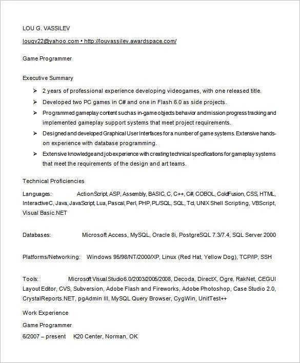 programmer resume template 8 free samples examples format - Programmer Resume Example