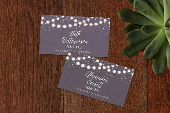 Garden Lights Wedding Place Flat Folded Card Template