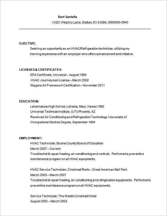 hvac resume technician sample hvac resume template documents word pdf