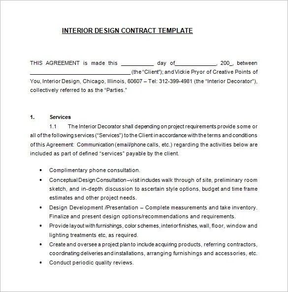 Interior Design Contract Agreement Sample