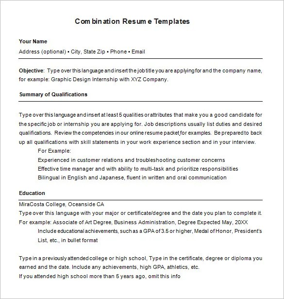 Combination Resumes Examples | Resume Format Download Pdf