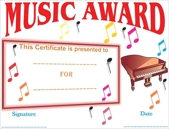 Piano certificate template free download yelopaper Choice Image