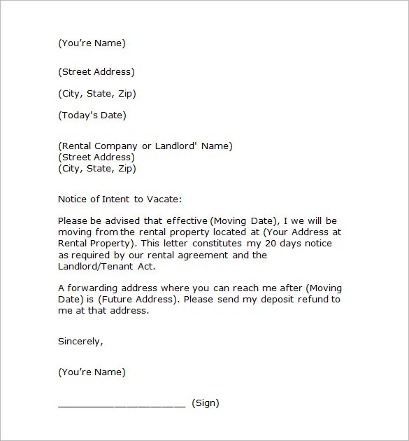 notice to vacate property business forms. notice of intent to ...