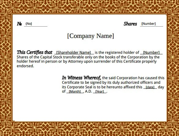 Company Share Certificate Template ms word stock certificate – Free Share Certificate Template