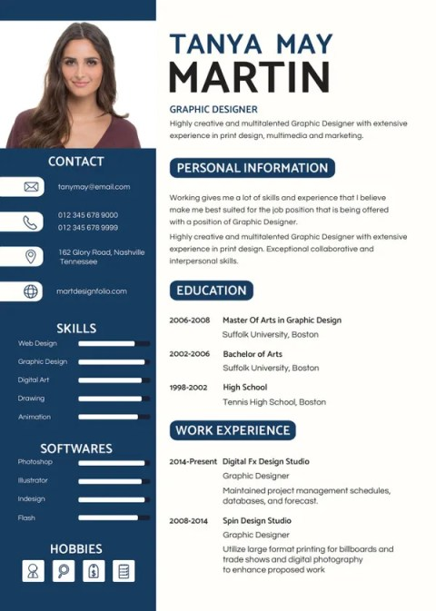 Professional Resume Blank Template in Apple pages