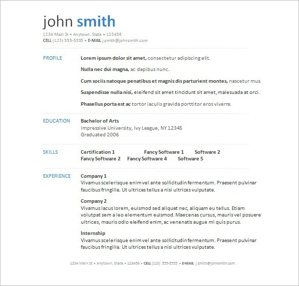 resume templates free samples examples amp format download