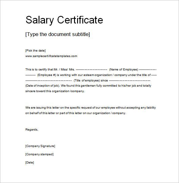 sample letter for salary certificate bank loan cover