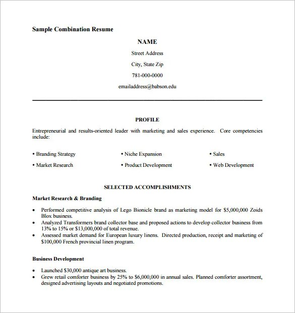 Combination Resume Template 2015. Combination Resume Template 6