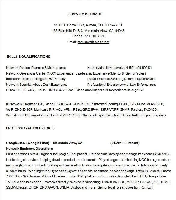6 Network Engineer Resume Templates Psd Doc Pdf Free