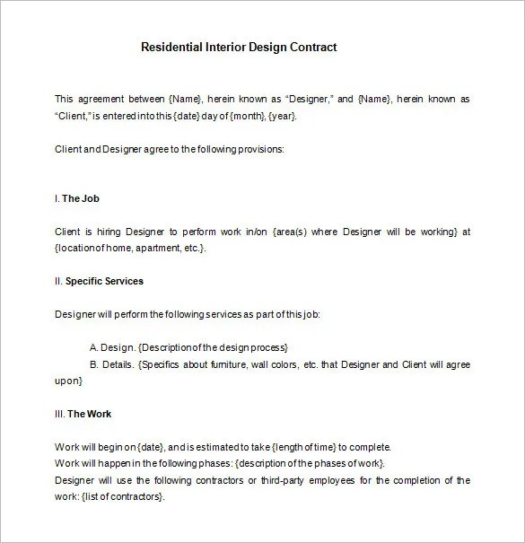 8 Interior Designer Contract Templates PDF DOC Free