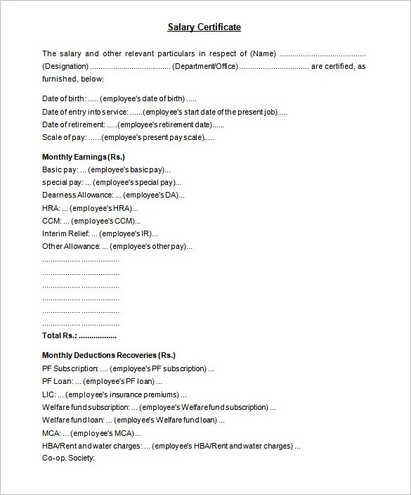 Doc12751650 Format of Salary Certificate Letter 21 Free – Pay Certificate Sample