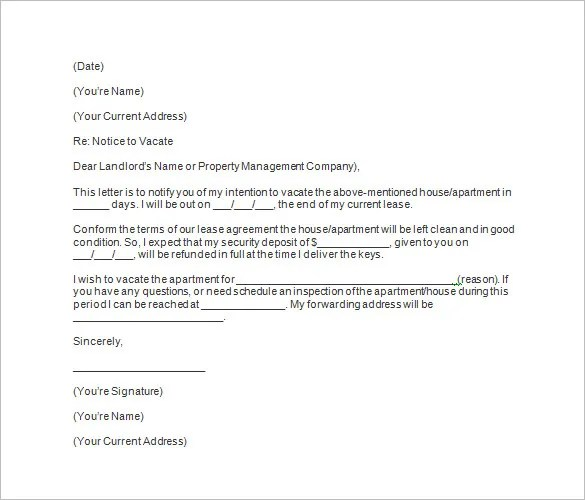 60 Day Apartment Notice Letter