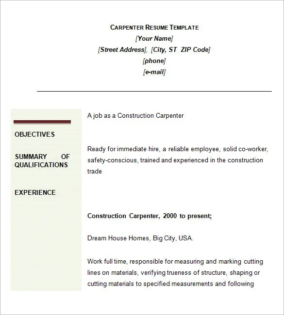 carpenter cover letter sample - Fieldstation.co