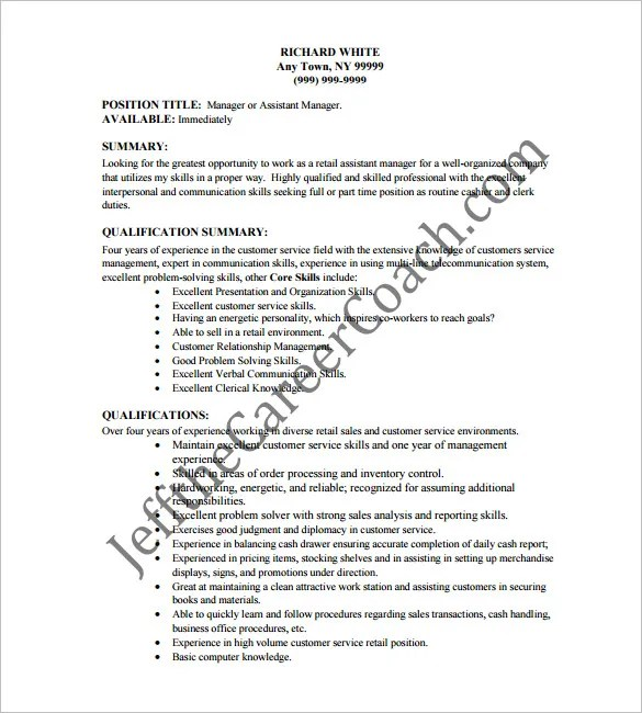 Cashier Example Resume. Cashier Resume Template 16 Free Samples