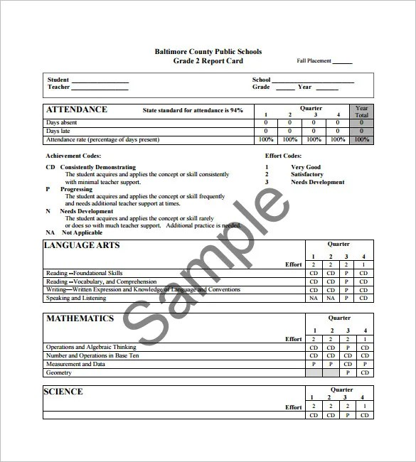 Report Card Template Free Printable  InfocardCo