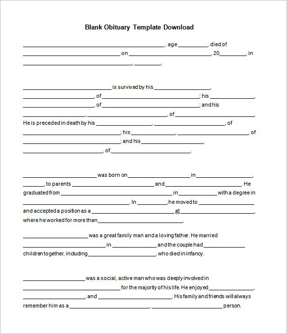 Fill In Obituary Template. obituary template 31 free word excel ...
