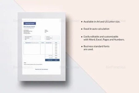 Google Invoice Template   25  Free Word  Excel  PDF Format   Free     Catering Invoice Template in MS Word