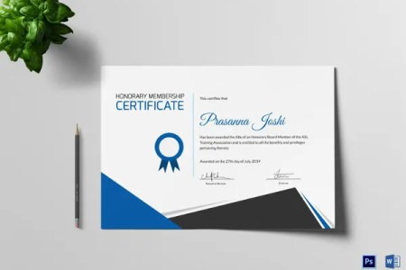 27  Training Certificate Templates   DOC  PSD  AI  InDesign   Free     Certificate of Honorary Membership Training