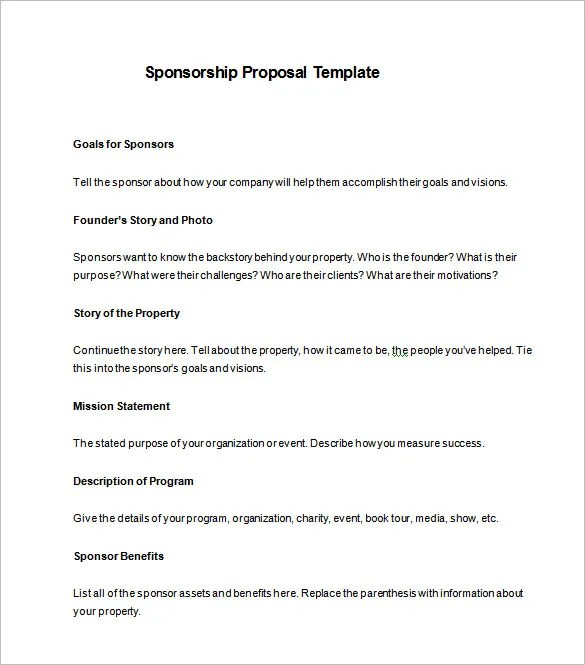 Corporate Sponsorship Package Template sponsorship proposal – Sponsorship Packages Templates
