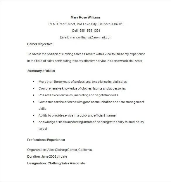 Retail Associate Skills Resume. For Retail Resume Job Description