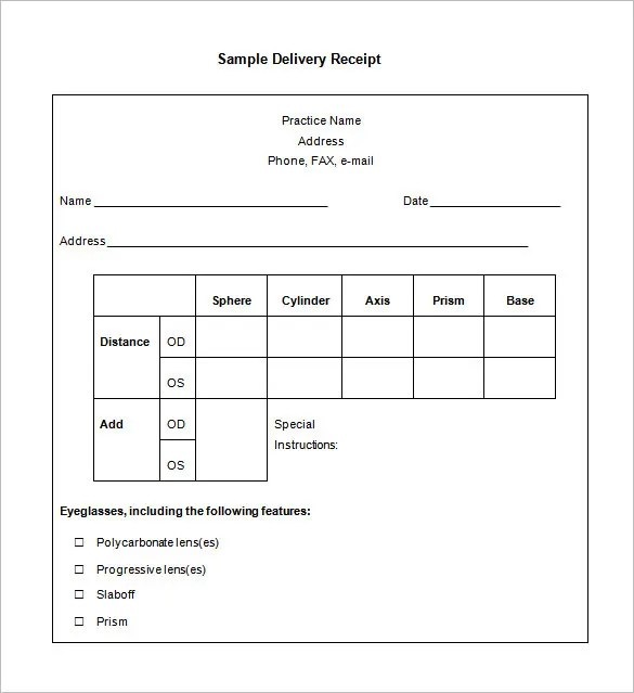 Delivery Confirmation Form Template Delivery Receipt Template – Delivery Confirmation Form Template