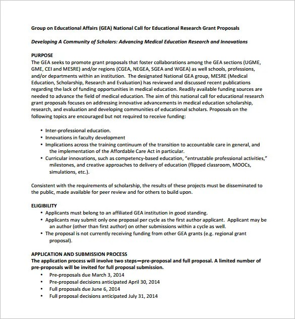 Grant Proposal Template Word Free Download