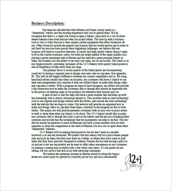 Bakery Business Plan Template 18 Sample Word Google Docs Apple Pages Example Format