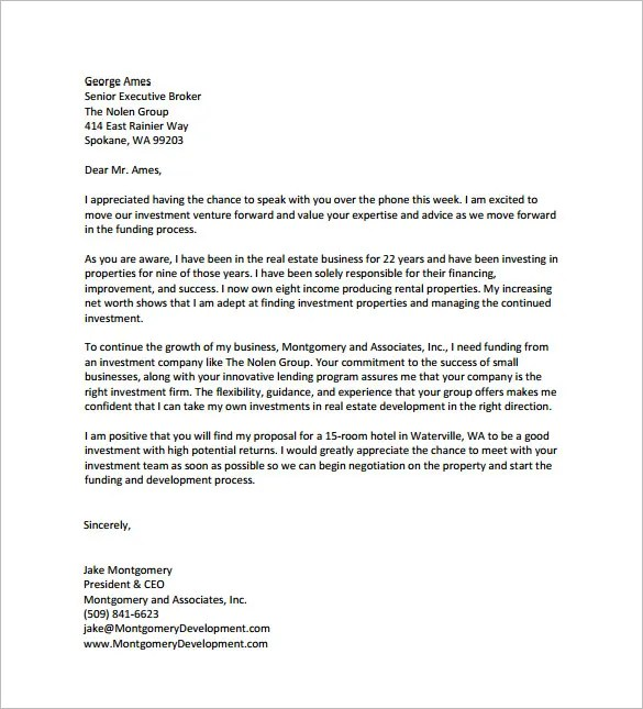 Sample Letter To Potential Investors | Docoments Ojazlink