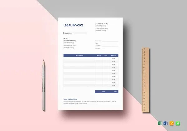 Legal Invoice Templates     12  Free Word  Excel  PDF Format Download     Legal Invoice Template