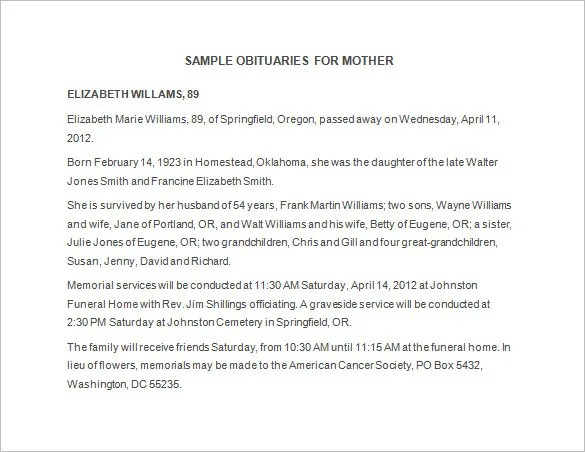 Obituary Sample Template. obituary template for mother 7 free word ...