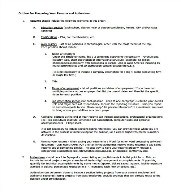 outline template 13 sample example format download
