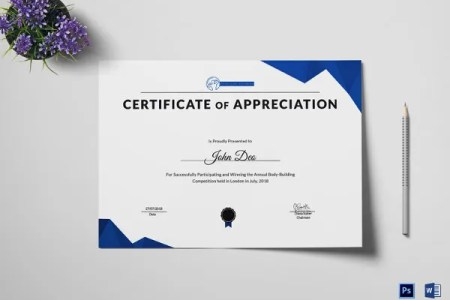 27  Training Certificate Templates   DOC  PSD  AI  InDesign   Free     Physical Fitness Certificate of Appreciation