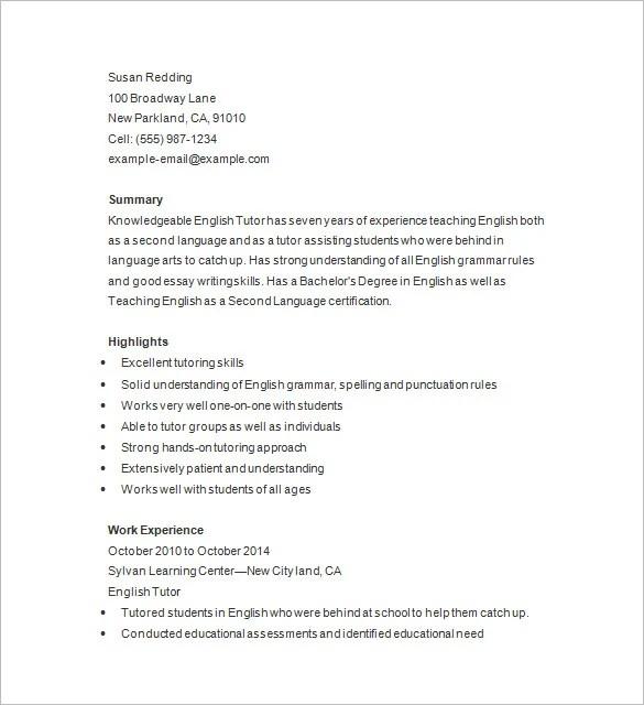 Sample Resume For Tutors Resume Sample