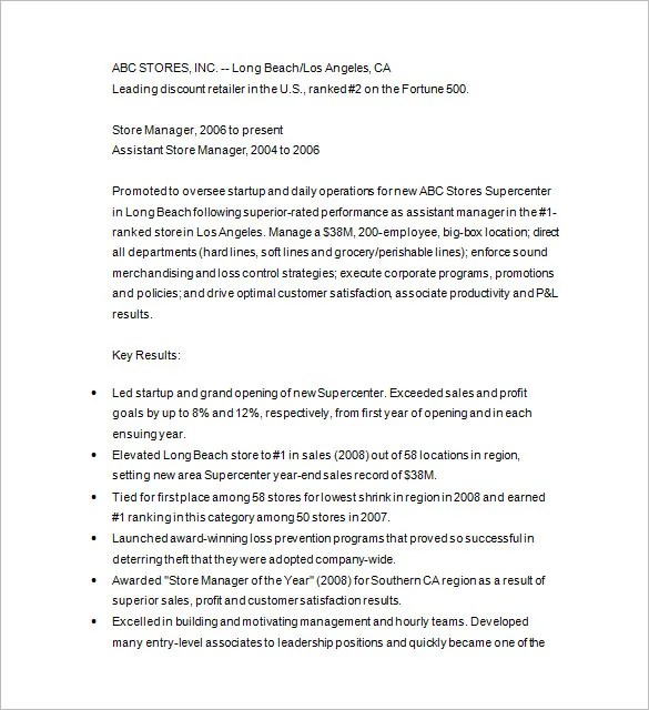 Retail Management Resume Summary. Free Resume Templates Download